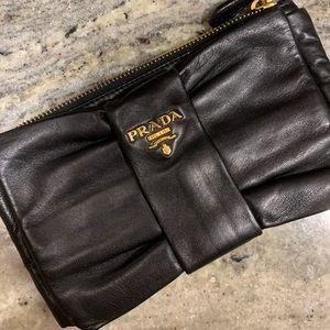 Prada Leather Bow Clutch, Like New